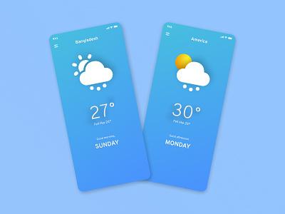 Weather mobile apps design dark ui apple ios mobile app design illustration ui concept glass morphism weather sun rain mobile apps design creative ux ui typography
