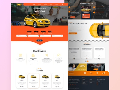 Online taxi booking landing page car car services clean design agency websites taxi booking app taxi booking taxi service car online booking creative landing page website design ux ui rental ordering online service booking from car booking