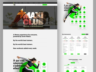 Fitness Website Design. workout fitness gym exercise sport yoga website landing page homepage desktop mobile ui ux design typography bold grid clean whitespace photography