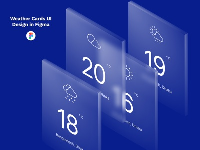 Weather Cards UI Design. weather cards mobile app weather app creative uiux weatherly glass glasses glassmorphism ui widget time clock weather mac icon glassy design concept tool
