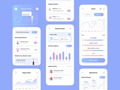 Fitness App Tracker UI design ui component uiux ui ux ux graph chart mobile ui component dashboard clean minimalist stats tracker design mobile app