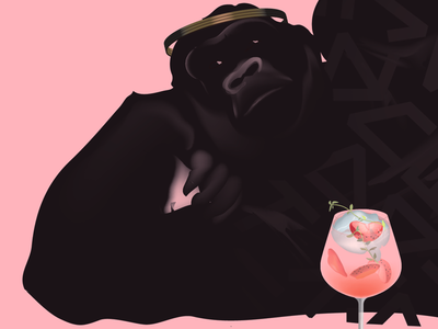 A crown for gorillas smooth digital illustrator freelance gorillas drink drawing illustration