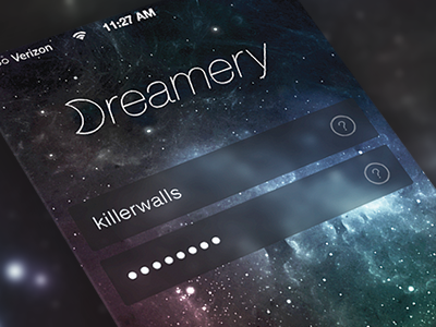 Dreamery: Login Concept ios 7 space gui blur login