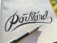 Portland Type script drawn hand type