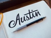 Austin illustration texas script hand drawn handmade