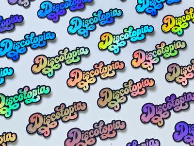Discotopia branding illustration reflective typeface rainbow foil holographic music disco 60s 70s script sticker