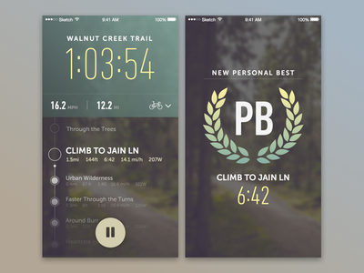 Cycling Concept mockup layout ui time tracking bike