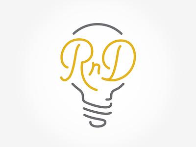 Research And Development Logo type vintage classic lightbulb light rd rnd logo
