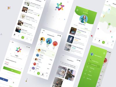Community App UI product icon design uxdesign photos minimal leaderboard events map report community typography ux vector branding ui design
