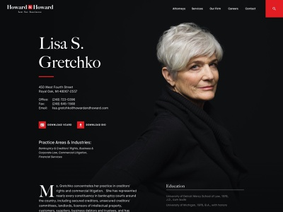 Howard&Howard Unused Concept attorney law lawfirm website webdesign