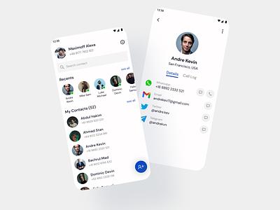 Clean Contact App minimalist ux concept design uidesign uiux ui mobile concept clean contact book book app home page contact page contact contact app