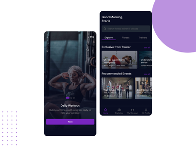 Fitness App card trainer training dark mode simple sports workout onboarding page onboarding on boarding fitness app fitness homepage home page ui mobile design clean ux concept design