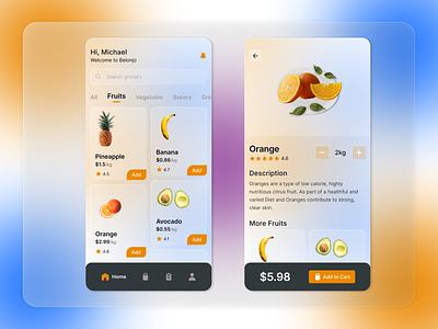 Grocery App - Belonjo cards mobile clean ux ui blur noise gradient glassmorphism food and drink fruit food app food ecommerce groceries grocery app grocery store grocery