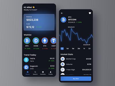 Cryptocurrency App mobile design ux ui crypto currency investment app crypto app crypto wallet finance fintech app crypto exchange trading app trade bitcoin ethereum dark ui cryptocurrency crypto