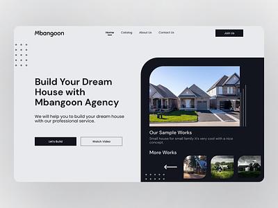 Mbangoon - Agency Landing Page offer product design website web uiux ui design ux ui minimal layout landing page interface concept real estate app design clean minimalist home property