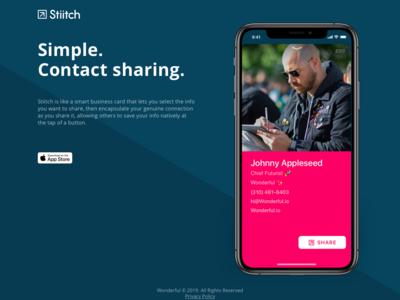 Stiitch – App Landing Page (desktop + mobile)