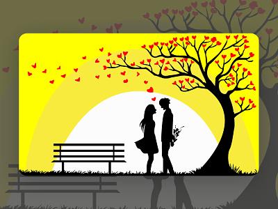 Dark Love - Illustration flower tree nature moon romance lovebird ai art propose couple night dark romantic love animation flat vector ui design illustration