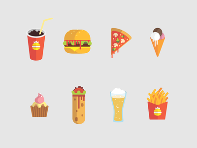 Icons Burger ice cream fast food mcdonalds icons pizza muffin beer cola burger