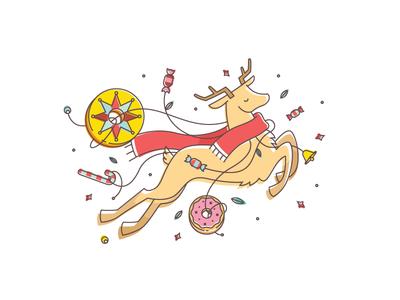 Santa's deer animals animation xmas 2d donut winter deer sweets christmas