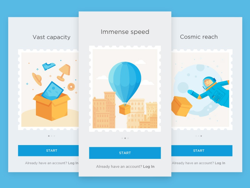 Onboarding Screens ui sign log balloon deliver package astronaut space illustration intro tour onboarding