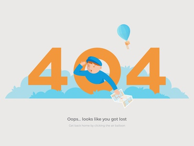 404 Got Lost gif after effects error 2d animation ladder balloon map bush lost 404