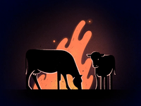 Cows around Bonfire procreate app sideroad night fly 2d animation bonfire fire animation fire cow celanimation framebyframe procreate 2d animation