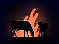 Cows around Bonfire procreate app sideroad night fly 2d animation bonfire fire animation fire cow celanimation framebyframe procreate 2d animation