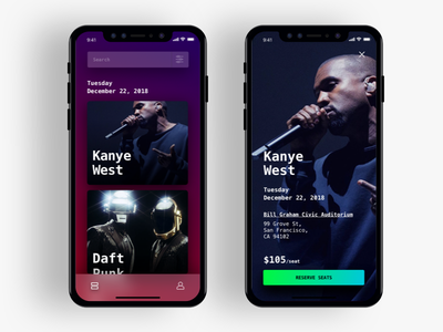 Tour Dates clean modern purple color iphone x iphonex iphone mobile ux ui