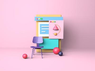 3d art for web ui pink 3d modelling adobe xd adobe furniture design cinema 4d xd c4d