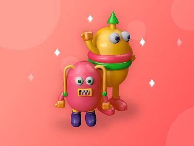 3D characters for kids mobile apps branding ui cinema 4d illustration c4d adobe xd designs 3d modelling design illustrations