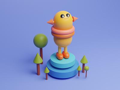 A 3d character 3d illustator illustrations blender 3d modelling design