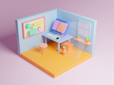 3d Room design 3 dimensions beautiful colours cycles 3d modelling isometric 3d artwork computer room house b3d blender 3d blender