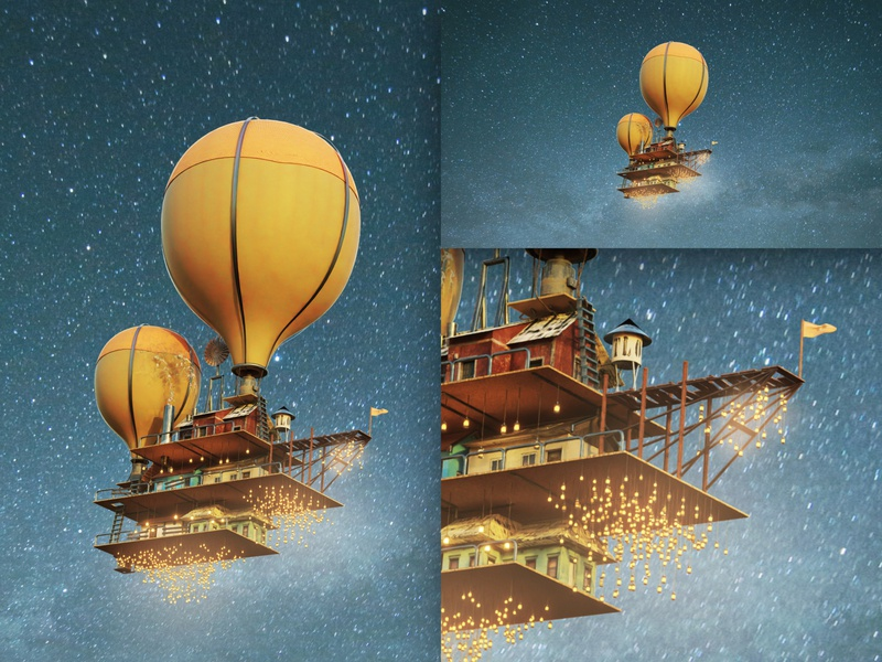 Flying Sanctuary night sky flying balloon house b3d 3d blender3d blender art