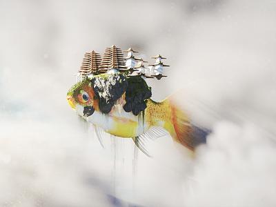 Monastery cloud sky fly flying monastary pagoda building fish b3d 3d blender3d blender illustration art