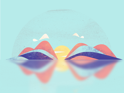 Summer Sunset vector landscape sunnset sun affinity minimal illustration design art