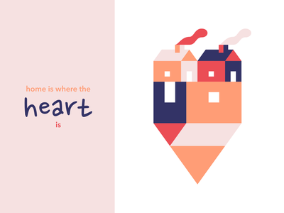 Home is Where the Heart is houses smoke heart house vector branding logo affinity minimal illustration design art