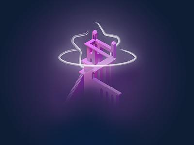 Heavens Gate monument valley monument stars vector isometric affinity minimal illustration design art