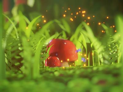Magic Mushrooms forest grass mushroom stylized b3d 3d blender3d blender illustration design art