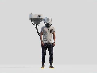 Plugged In helmet human personal robot drone character scifiart scifi b3d 3d blender3d blender design art