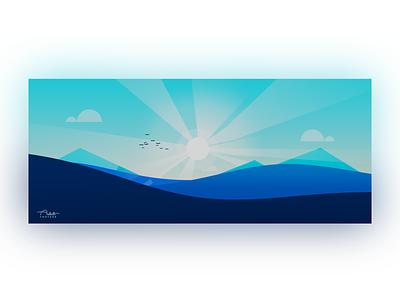 Horizon stylized mountains hills sun cloud landscape graphic design 3d minimal blender3d blender illustration design art
