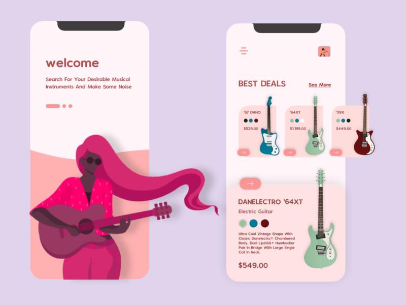 Music instruments shop - mobile UI