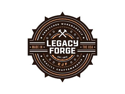 Legacy Forge detailed detail intricate ornate art horseshoe workmanship craftsmanship branding logo vector badge crest illustration