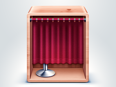 PhotoBooth osx apple metal stool cloth curtain booth photo wood