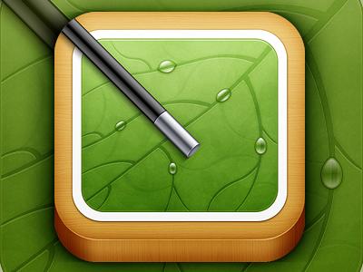 iOS Icon wood wand drops leaf ios