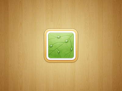 iOS Icon water drops leaf wood ios