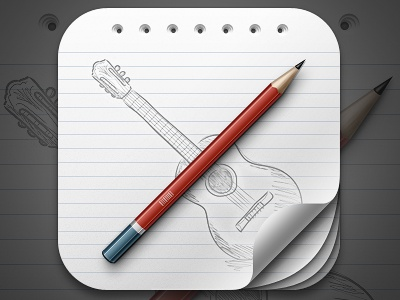 iOS Icon curl paper pencil ios sketch guitar