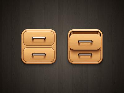 Drawer iOS metal handle wood drawer ios