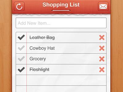 Shopping List list shopping linen paper ios ui