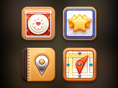 Mix iOS Icons 2 stitches wood pin map address leather board wedding cake star ios