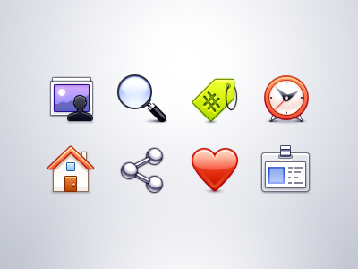 iOS App Icons hashtag heart picture profile id search clock favorite share home